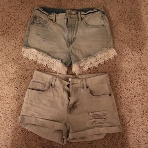 (LOT)Size 25 High Waisted Shorts  FREE PEOPLE/ F21